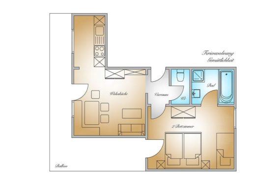 Grundriss - Ferienwohnung Gemütlichkeit, Gästehaus Herrmann