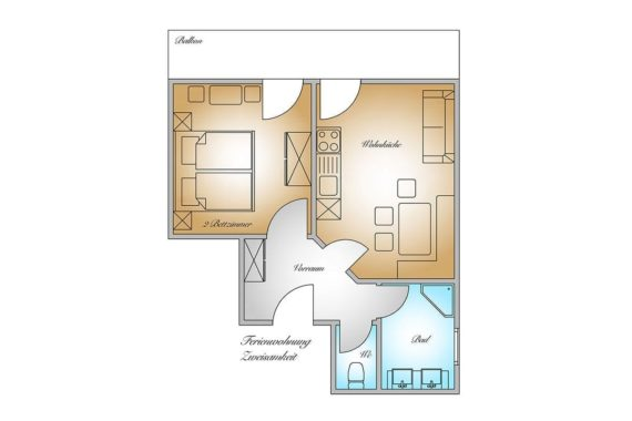 Grundriss - Ferienwohnung Zweisamkeit, Gästehaus Herrmann