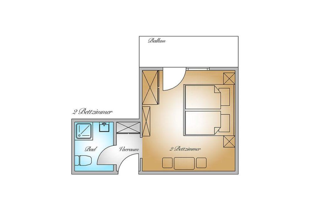 Grundriss - Wohlfühl-Doppelzimmer, Gästehaus Herrmann